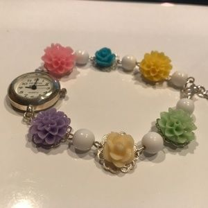 NWOT - Silver Flower and White Bead Watch